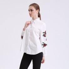 Dioufond 2017 Vintage Rose вышитые женщин Блузки модные женские хлопок рубашка с длинными рукавами плюс размер 3XL женская футболка с цветочным принтом
