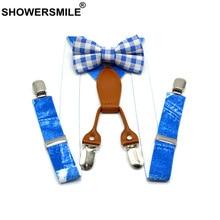 SHOWERSMILE Boys Suspenders Blue 4 Clips Children Braces Fashion Baby Kids Suspender Pants with Bowtie 65cm*2.5cm