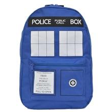2016 venta de La Manera bolso de escuela del estudiante de dibujos animados Doctor Who Tardis Caja de bolsas de trabajo de los Policías Mochilas Envío Gratis