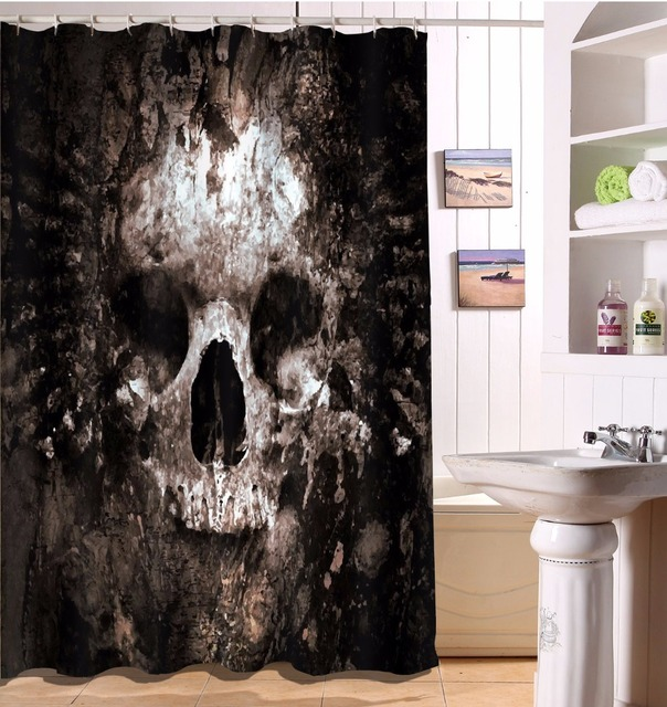 Scary Halloween Retro Rotten Skull Bathroom Shower Curtain Polyester Fabric Bathroom  Accessories Waterproof Curtain U0026 12