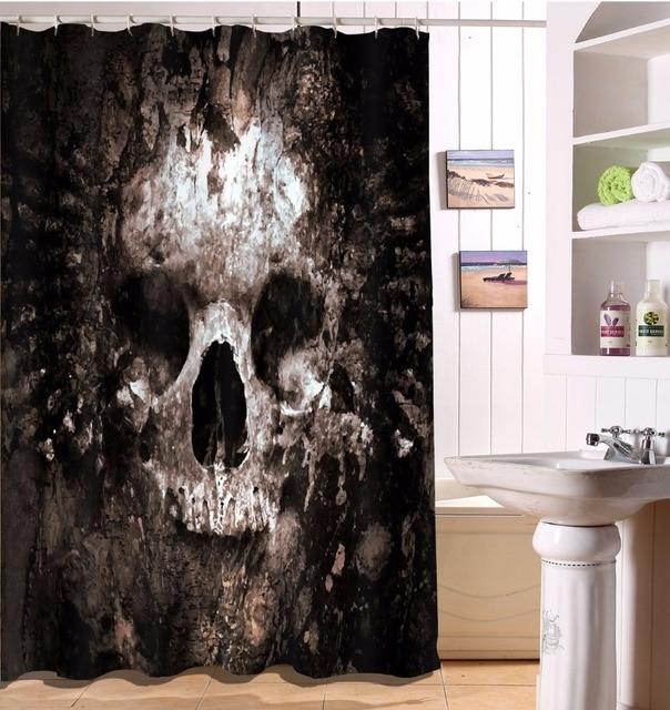 Scary Halloween Retro Rotten Skull Bathroom Shower Curtain Polyester Fabric  Bathroom Accessories Waterproof Curtain U0026 12