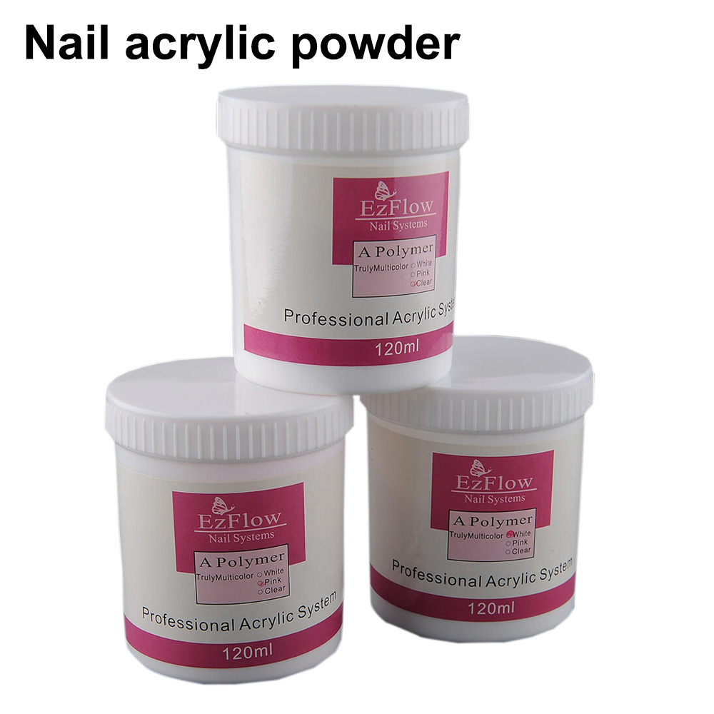 ezflow 1 Bottle 120g Acrylic Powder Crystal Powder Nail Tips Polymer Pink Clear White 3 colors optional Nail Art Decoration
