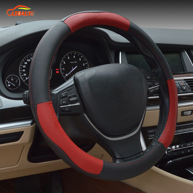 ledaut ledaut 15inch leather steering wheel cover automotive steering wheel wrap for car. Black Bedroom Furniture Sets. Home Design Ideas