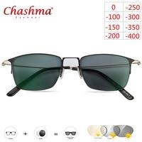 Myopia Sunglasses Photochromic Finished Men Women Myopia Eyeglasses Frame with color Lens Sun glasses Myopia Eyewear Titanium