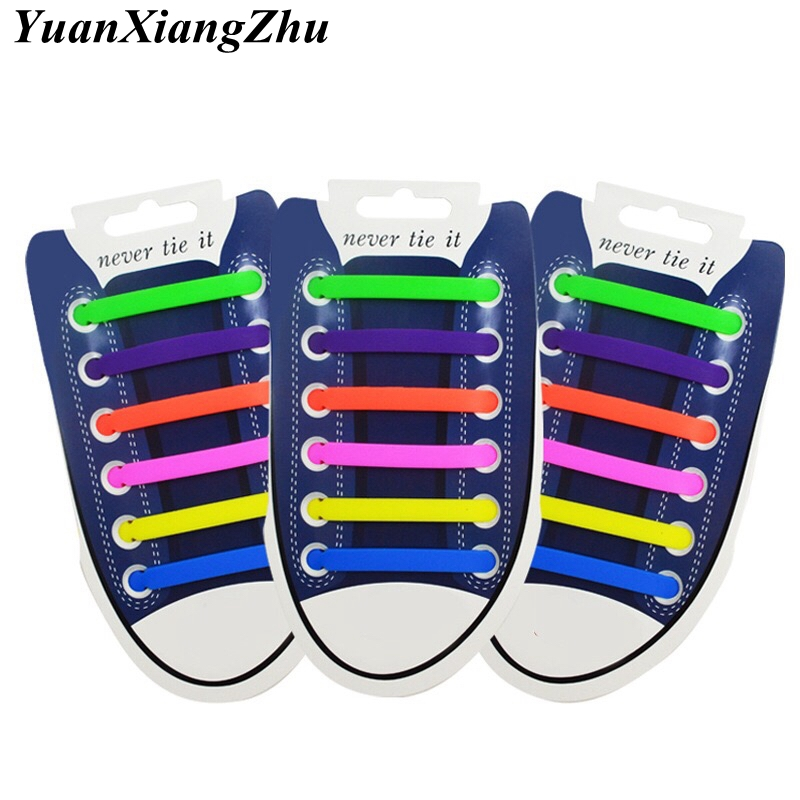 12pcs/lot Elastic Silicone Shoelaces For Shoes Special Shoelace No Tie Shoe Laces For Men Women Lacing Shoes Rubber Shoelace