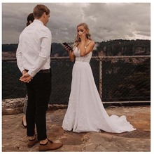 LORIE Boho Wedding Dress Spaghetti Straps White Beach Appliques Lace Princess Bride Long Train