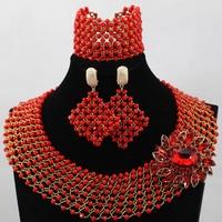 African Red Beads Jewelry Set 2017 Nigerian Wedding Crystal Jewlery Set Fashion Women Necklace Set Free Shipping WD191