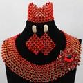 Red africana de Los Granos de La Joyería 2017 de la Boda de Nigeria WD191 Cristal Joyas Conjunto De Moda Collar de Las Mujeres Fijó El Envío Libre