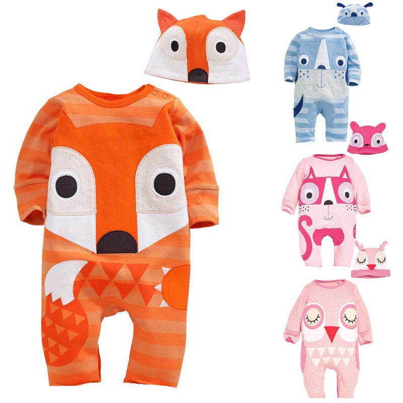 Newborn Infant Costumes Cotton Recem Nascido Fox Shaped Jumpsuit+Hat 2 PCS Baby Romper Set Spring 0-2T Newborn Infant Costumes white black rompers baby bow tie romper cotton recem nascido jumpsuit baby onesie vestido infantil baby boy costume kd315