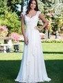 2017 de Alta Qualidade Elegante da Luva do Tampão Chiffon Praia Vestidos de Casamento Plus Size Jardim vestido de Noiva Vestidos de Novia