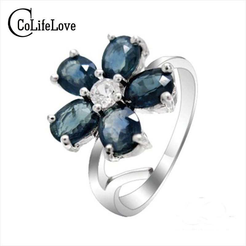September birthstone ring 925 pure silver rings woman sapphire stone ring flower style ring