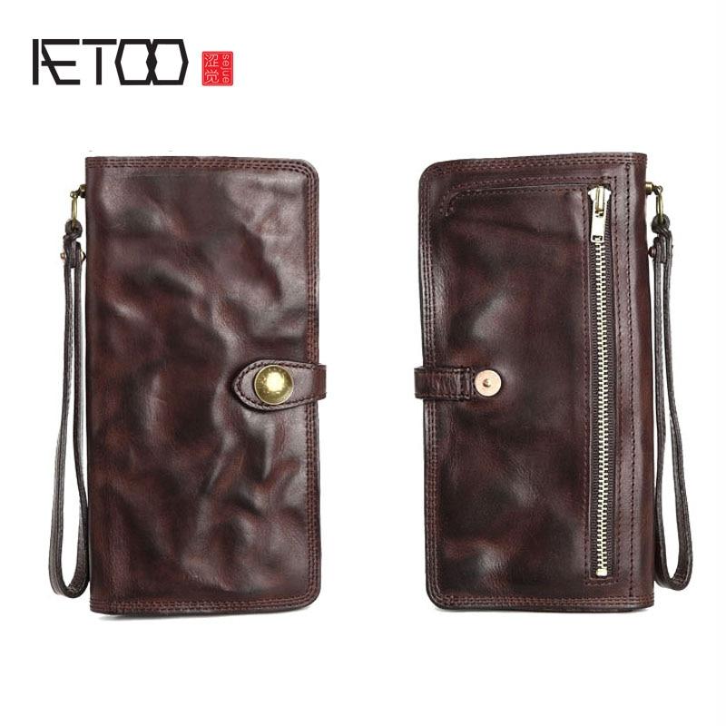 Bagaj ve Çantalar'ten Cüzdanlar'de AETOO Deri erkek uzun cüzdan deri çoklu kart cüzdan yeni orijinal retro toka kişilik gençlik cüzdan'da  Grup 1