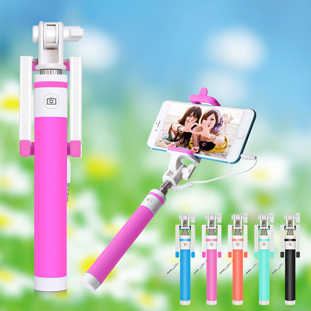 Macaron Wired Selfie Stick Monopod Built-in Remote Shutter Phone Stand