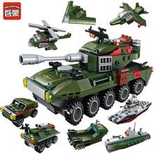ENLIGHTEN 8 IN1 Military Army Cars Airplane Destroyer Weapon Gun Model LegoINGLs Technic Building Blocks Sets Toys for Children 3d metal destroyer model fit for children
