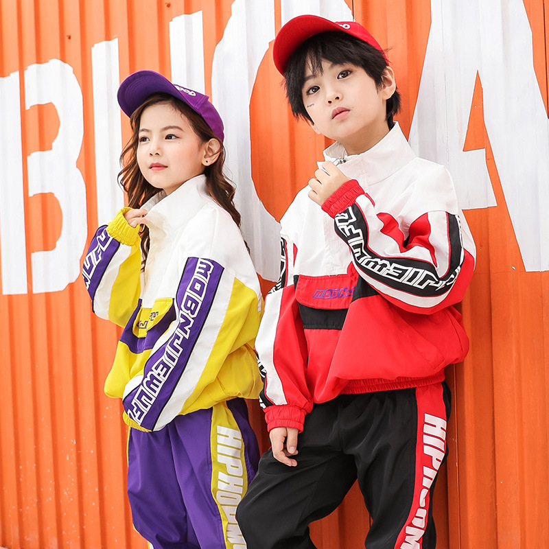 Loose Dance Costumes Kids Hip Hop Stage Competition Ballroom Show Boys Girls Hiphop Jazz Street Dance Clothes Dancing Suit Set