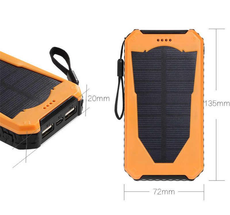 للماء الطاقة الشمسية البنك ريال 20000 مللي أمبير المزدوج USB الخارجية بوليمر بطارية شاحن الهواء الطلق ضوء مصباح تجدد Powerbank Ferisi