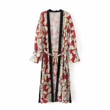2017 nouvelles femmes De Mode long imprimé floral kimono cardigan plage femme sexy veste robe Avec Des Ceintures de fleur maxi boho chemise blouse
