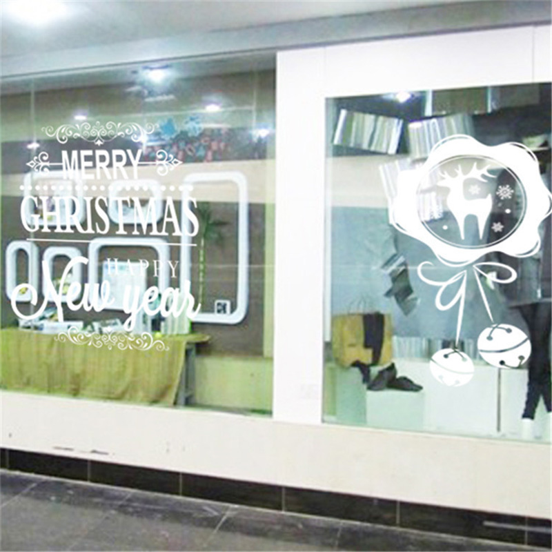 50x70cm 2019 Merry Christmas Decorations for Home New Year Shop Glass Window White Deers Bell Decorative Stickers Navidad Natal  (5)
