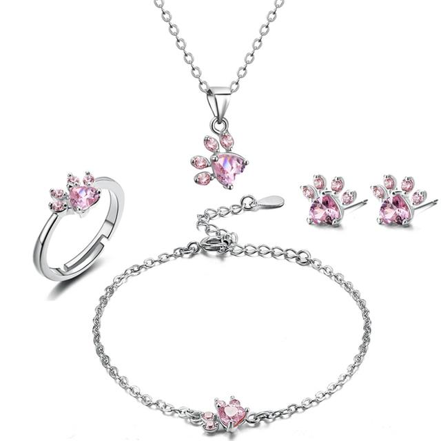 4 PCS Cat Paw Jewelry Set 2