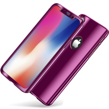 hot deal buy 360 degree full protection hard case for iphone x back cover mirror electroplated shockproof case for iphone x case + glass film