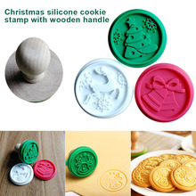 Navidad 1Set silicona galletas de bricolaje sello Fondant molde galleta repujado cortadores azúcar herramienta artesanal DTT88