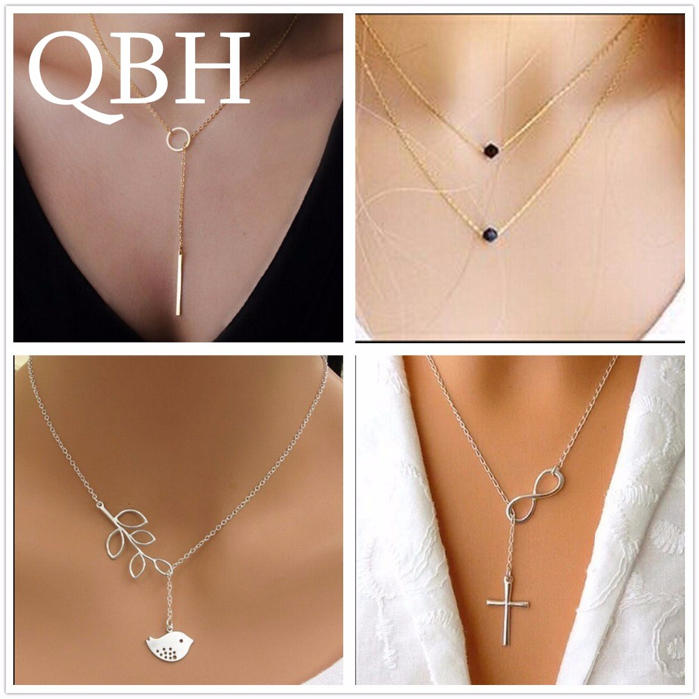 High Quality Bijoux Inifity Heart Owl Crystal Cross Leaf Minimalist Clavicle Pendants Necklaces For Women Jewelry Chain Collares