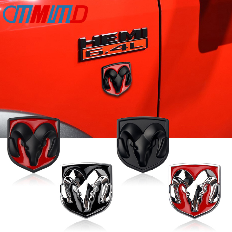 Car Styling 3D Metal Car Stickers  Car Head Grill Tailgate Ram Head Emblem Badge Sticker For Dodge Ram Caliber Auto Accessories