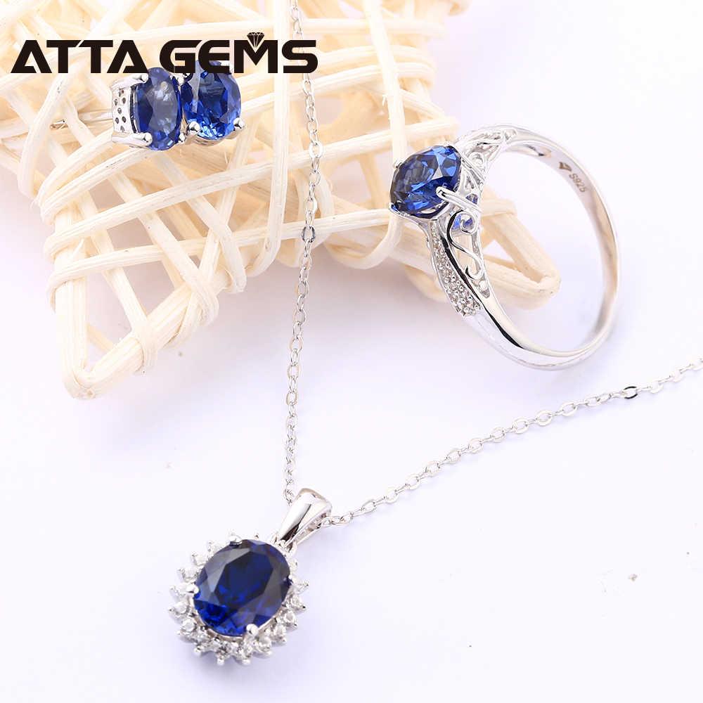 כחול ספיר סטרלינג כסף תכשיטי סט נשים חתונת אירוסין כסף סט נוצר כחול ספיר חן קלאסי סגנון