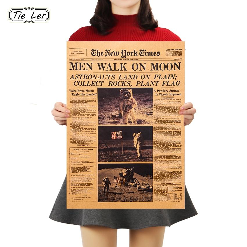 TIE LER The Apollo 11 Moon Landing New York Times Vintage Poster Kraft Paper Retro Kids Room Decoration Wall Sticker 51*35.5cm
