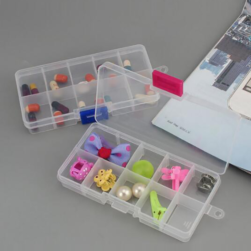 Plastic 10Grids Adjustable Jewelry Box Beads Pills Nail Art Storage Box The Office Housekeeping Organization Small Parts Storage