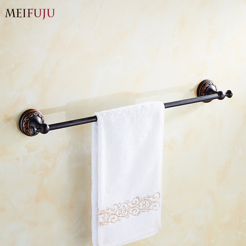 Luxury Bathroom Accessories Single Towel Bars Hotel Towel rack Holder Hardware Sets Bath products Antique Carving Black bronze partol black car roof rack cross bars roof luggage carrier cargo boxes bike rack 45kg 100lbs for honda pilot 2013 2014 2015