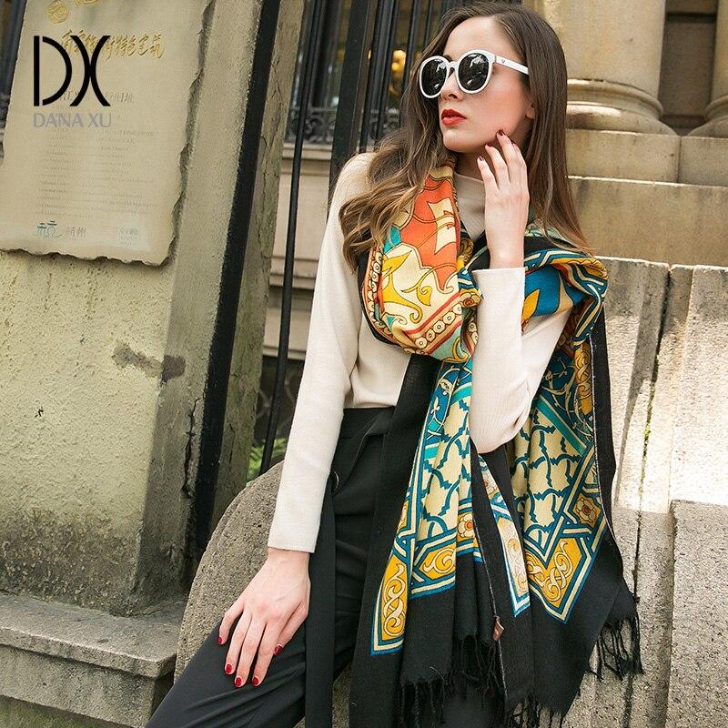 Роскошные брендовые зимние плед кашемировый шарф Для женщин негабаритных Одеяло шарф Обёрточная бумага теплая шерсть шарф Для женщин пашм...