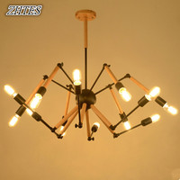Nordic Personality Wooden Chandelier Loft American Creative Bar Dining Room Cafe Spider Chandelier Lighting