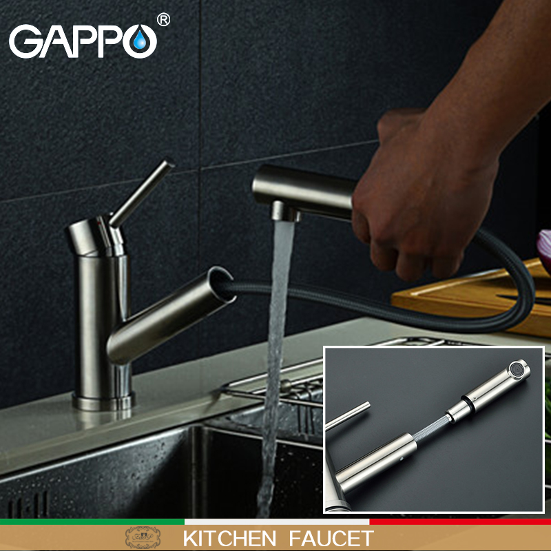 GAPPO Kitchen Faucet Kitchen Sink Faucets Water Mixer Kitchen Faucets Sink De Cozinha Pull Out Taps Waterfall Brass Faucets