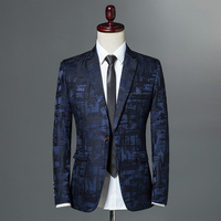 2018 Autumn Male Suite Classic Brand Blazer Mens Single Button Casual Print Slim Fit Business Suit Jacket Wine red Grey Khaki