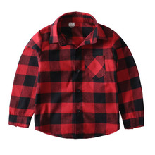 Child's Wear Cotton Girl Cothing To School Spring Summer Baby Girl Shirts Red Plaid Long Sleeve Kids Clothes Boys Shirts Trendy