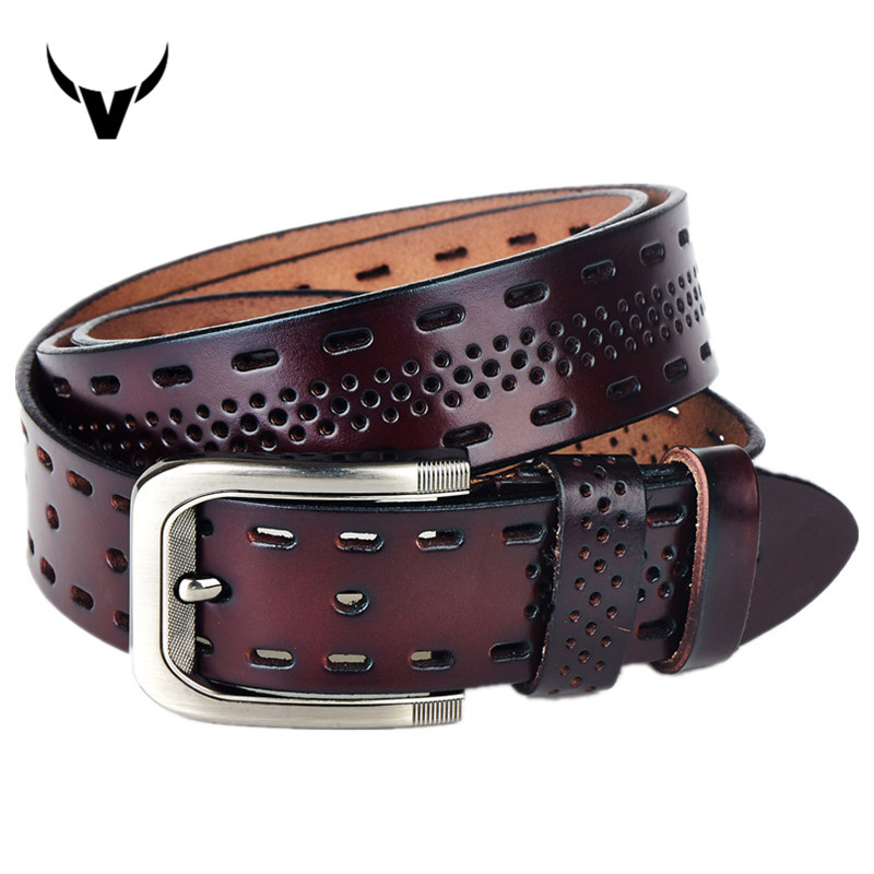 luxury 100 genuine leather belt for men casual hollow designer belts