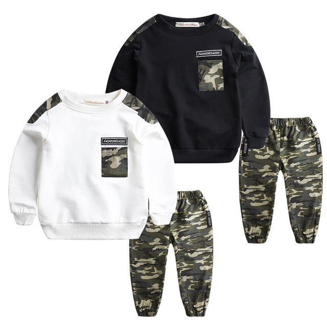 Children Wear Boys Spring /Autumn Camouflage Suit 2018 New Style Children's Camouflage Trend Set Boy Sports Two Piece.4-12Y