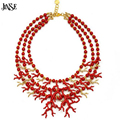 JINSE Latest Fashion Three Rows Necklace Natural Black Red Coral Pendant Christmas Necklace Wedding Jewelry Gift BLS077