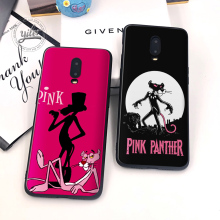 Coque For Oneplus 6T Case Cover Black Soft Silicone Cute Pink panther for Funda 7 Phone Cases 1+6T 1+7