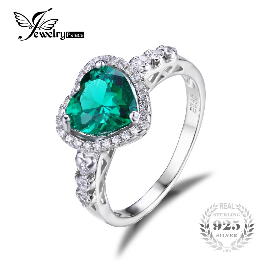 JewelryPalace Heart Of Ocean 1.8ct Created Green Emerald Love Forever Halo Promise Ring 925 Sterling Silver Jewelry