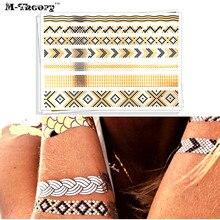 M-theory Metallic Gold Choker Temporary Tattoos Body Arts Snake Print Flash Tatoos Sticker 21x15cm Dress Swimsuit Makeup Tools