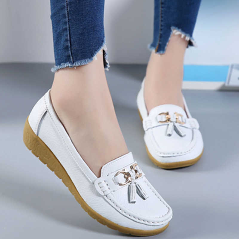 2019 Fashion Women Genuine Leather Flat Ladies Solid Sneakers Shoes Sewing Women Boat Flats Casual Ballet Shoes Plus Size 35-44