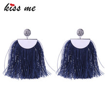 KISS ME Blue & Pink Tassel Earrings for Women 2018 New Hyperbole Big Drop Earrings Fashion Jewelry Gift(China)