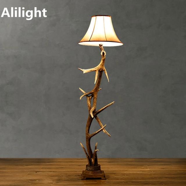 Vintage Personality Simple Floor Lamp Retro Antlers Indoor Floor ...