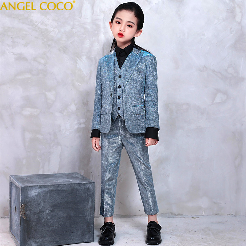4pcs Girls Suit For Weddings Kids Prom Suits Satin Wedding Suits Kids Blazers Girls Clothing Girl Formal Classic Costume Fille tian qiong men suit 2018 slim fit male printed suits stylish mens suits wedding groom designer prom wear brand clothing qt346