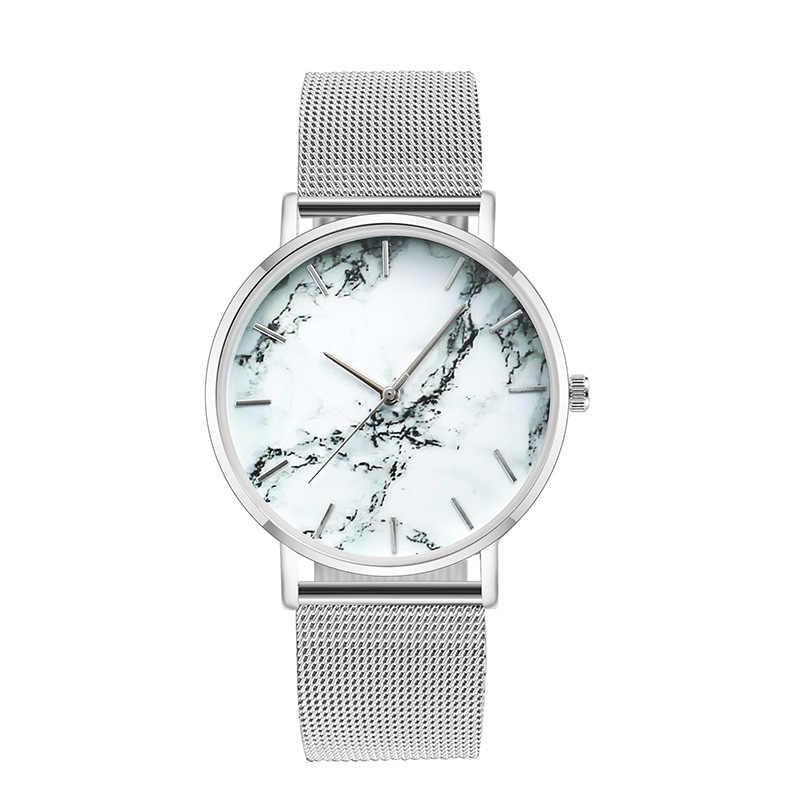אופנה רוז זהב רשת להקת Creative נשי שיש שעון יד יוקרה נשים קוורץ שעונים מתנות Relogio Feminino זרוק חינם