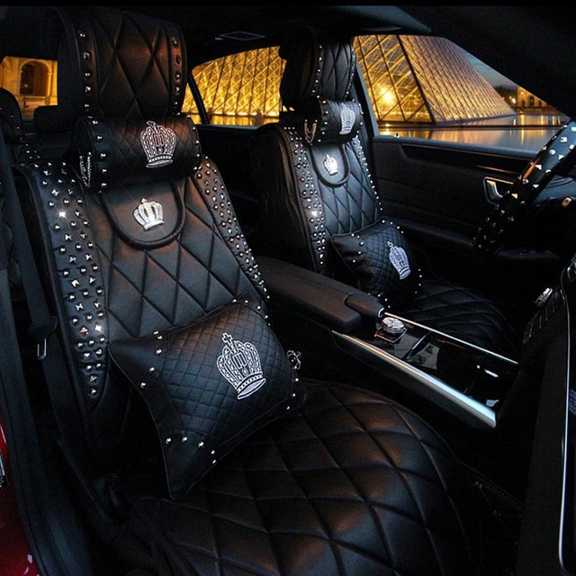 Queens Luxury Car Seat Cover Full Surround Universal PU Leather Covers Styling Previous Next