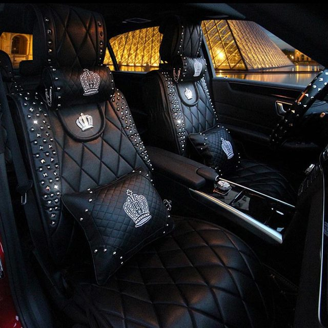 Luxury Queens Car Seat Cover Full Surround Universal PU Leather Covers Styling Interior Accessories