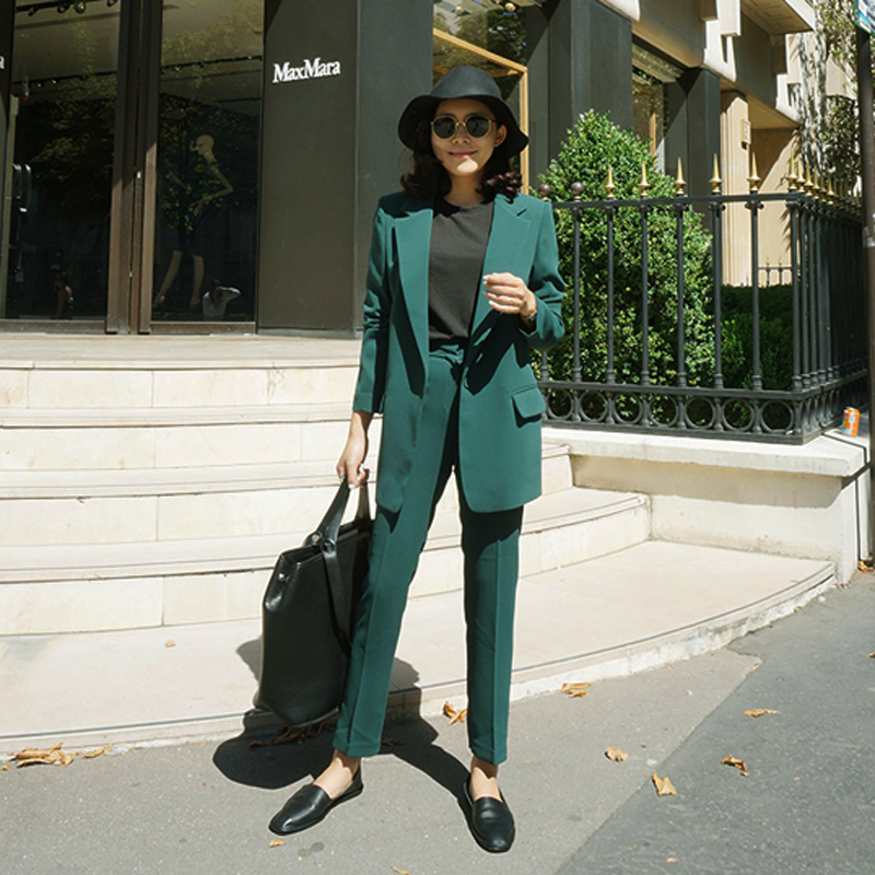Set Female 2018autumn New Temperament Fashion Slim Small Suit Jacket + Harlan Trousers Elegant Casual Two-piece Solid Color Wild